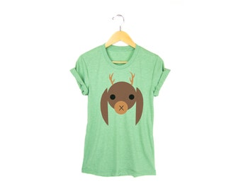 Geo Jackalope Tee - Boyfriend Fit Crew Neck T-shirt with Rolled Cuffs in Heather Green and Brown - Women's Size S-4XL