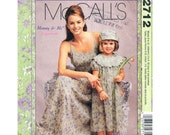 Mommie and Me Pattern McCalls 2712 Ladies Empire Dress Spaghetti Straps, Girls Dress and Hat  Girls Sizes 3 to 8 Womens Sizes 8 to 22 UNCUT