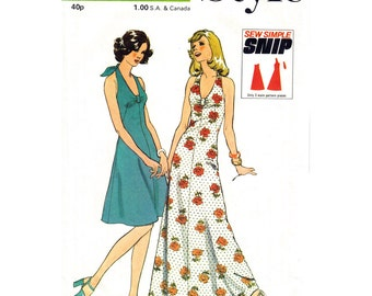 1970s Vintage Halter Dress Pattern Style 4755 Tied Halter Flared Maxi Dress Bust Gathers Women Sewing Pattern Bust 36