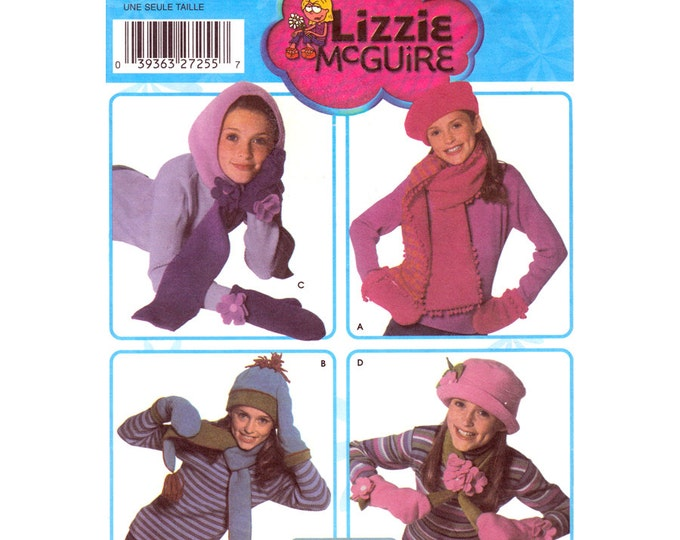 Girls Fleece Hats Mittens Scarves Pattern Simplicity 5269 Hood Beret Cloche Size S M L