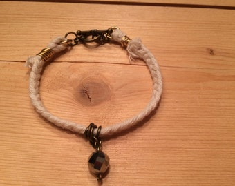 braided cotton bracelet with sparkle bead