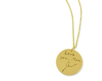 14k gold custom handwriting pendant - Personalized writing necklace - Memorial Jewelry - Signature Engraved Pendant - Custom Personalization