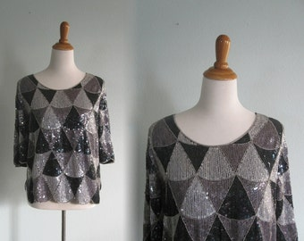 Vintage Silver and Black Indian Silk Beaded Top - 80s La Chemise Naturel Top - Vintage 1980s Beaded Blouse S M