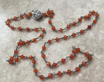 Carnelian Necklace - Faceted and Wire-Wrapped with Oxidized Sterling Silver - Rosary Style Carnelian Necklace - Sunset II by SplendorVendor