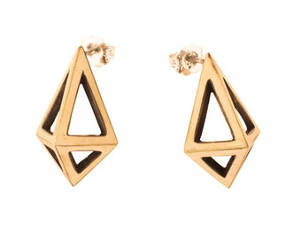 Large Brass Prisms // Geometric Modernist Studs
