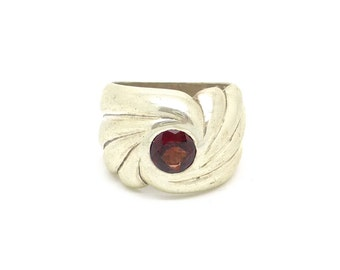 Art Nouveau Sterling Silver Swirl Ring with Red Garnet