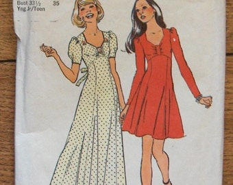 vintage 70s simplicity pattern 6769 young junior teen dress sweetheart neckline sleeve variations sz 13/14 and 15/16