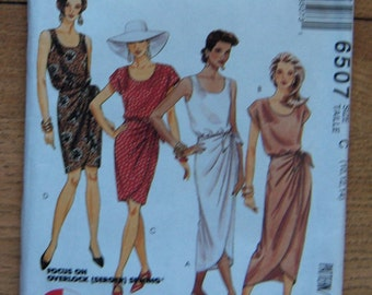 vintage 1993 McCAlls pattern 6507 misses 3 hour mock sarong dress in 2 lengths sz 10-12-14 uncut
