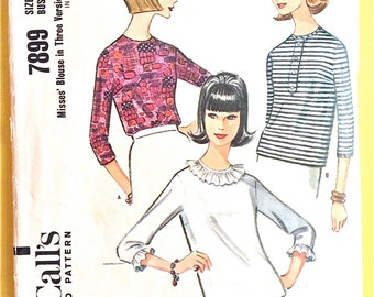 1970s Vintage Sewing Pattern McCall's 7899 Back buttoned Blouses Bias Ruffles Overblouse Size 12 Bust 32 Vintage Sewing Pattern