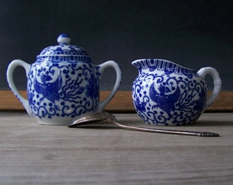 Vintage Phoenix ware Cream and Sugar ~ Blue and White ~ Transferware ~ Porcelain
