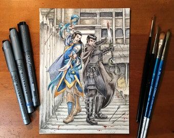 The Mad Elf & the Assassin - Original Watercolor Painting, Trading Card Art, Inceptions, Fantasy Art
