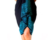 PLUS SIZE Sarong Batik Pareo Beach Sarong - Women's Plus Size Clothing - Extra Long Wrap Skirt or Dress - Black and Blue Swimsuit Cover Up