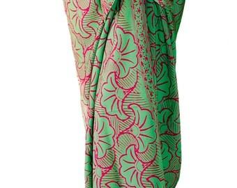 Beach Sarong Pareo Wrap Skirt Women's Clothing Batik Pareo - Swimsuit Cover Up - Sage Green & Pink Gingko Leaf Sarong Long Wrap Beach Skirt