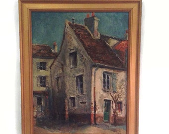 Midcentury Small Oil Painting - Village House with Green Door - Vintage 1950s Mid Century