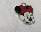 "Minnie Mouse, Sparkling Red Bow, enamel charm, Disney , 3/4"" MMSK"