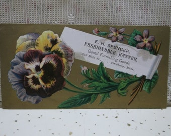 Victorian Trade Card-E.H. Spencer Fashionable Hatter-Fitchburg,MA-Pretty Flowers-Pansy-Gilded Gold
