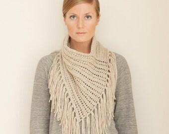 KNITTING PATTERN // Arika Cowl // eyelet rib bandana style cowl with fringe -- PDF