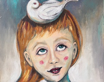 Bird Girl, Whimsical Art, 10x10 original painting