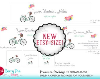 Etsy's New Size! Chic Retro Bicycle & Flowers Etsy Branding Package (in White or CUSTOM COLOR) - Etsy Cover / Banner Package with Add-ons