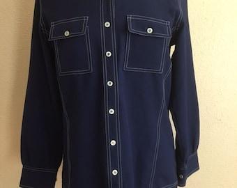 Vintage NAVY Polyester Button Up Shirt/ White Stitching / Womens Medium Large