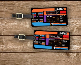 Personalized Luggage Tags Star Space Trekkie Spaceship Panel  Custom Address Printed Metal Tags Luggage Tags, 2 Tags