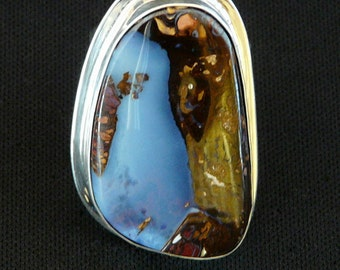 Blue African Pietersite and Sterling Silver Ring with Adjustable Sterling Band