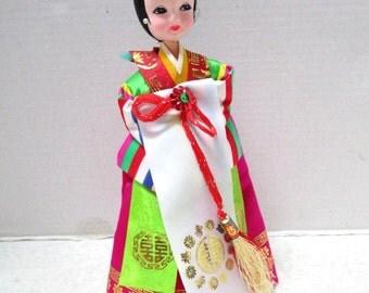 Vintage Pose Doll, Asian Korea Ethnic Folk Art, Formal Ceremonial Costume, Geisha Japan Big Eye Cloth Satin Costume Souvenir Kitsch Hot Pink