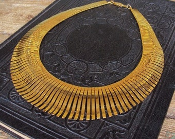 Vintage Statement Necklace Bib Style Necklace Gold Metal Ornate Mod Modernism Costume Jewelry Cleopatra Tribal Ethnic