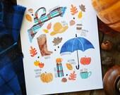 Happy Fall, Seasonal Decor, Illustration, Pumpkins, Scarf, Pumpkin Spice, Apples, Fall Decoration,leaves, Apple Cider, Fall Favorites
