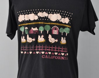Vintage TShirt California Farm Tee Puffy Paint Barn CA Animals LARGE