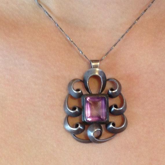 Art Nouveau jewelry, Vintage 30s pendant, sterling silver necklace, Large purple Amethyst,1930s Jewelry, Art Nouveau necklace, Statement