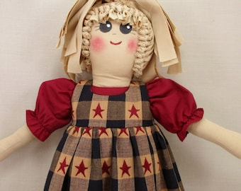 Plastic Bag Holder Doll, Americana Style, Patriotic  Decoration, Recycle, Grocery Bag Holder, Kitchen Storage, Rustic Doll, Recycle,