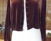 Vintage 90s Mauve Velvet Crew Neck Button Down Crop Boxy Blouse Jacket M Free US Shipping