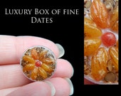 Luxury Christmas Dates & Candied Nuts in a Tiny Box - Artisan fully Handmade Miniature in 12th scale. From After Dark miniatures.