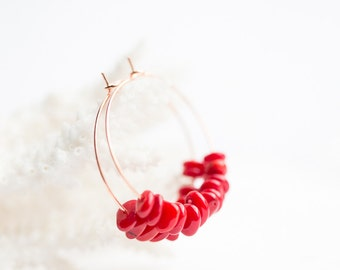 Red Coral Hoop Earrings Rose Gold Brass Modern Hoops Beach style Jewelry minimal chic