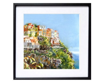 Travel Art Print,  Italian Landscape Painting,  Vacation travel paintings of romantic Cinque Terre, Italy - 12x12 T
