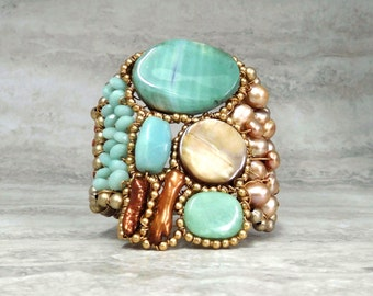 Large Cuff Bracelet in Beach Colors-Luxe Boho Cuff in Turquoise Aqua Blue Agate & Gold Sand Color Block (Bold Jewelry by Sharona Nissan)