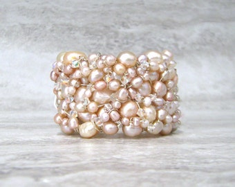 Wire Wrapped Pretty in Pink Pearl Cuff with Aurora Boreal Swarovski Crystals-Unique Bridal Jewelry by Sharona Nissan (sale)