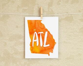 Atlanta Love instant download printable wall art 8x10 - ATL, Heart Atlanta, Georgia State Map