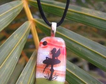 Fused Dichroic Glass Fairy Pendant