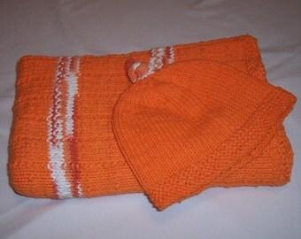 Orange Cotton Baby Blanket and Hat Set