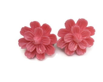 Dark Pink Spring Dahlia Flower Clip On Earrings