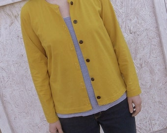Womens Handmade Jersey Knit Cotton Button Up Cardigan XS S M L XL -Harbor