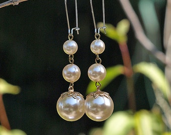 Faux Pearl Drops Earrings on Stainless Steel Wires, Graduated Size Pearl Dangles - Wedding Belle Collection