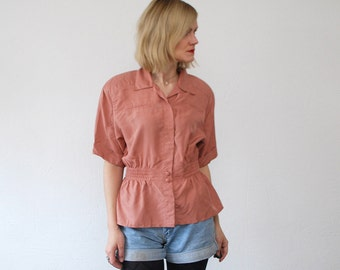 SALE...80s salmon pink silk blouse. pastel silk shirt. slouch blouse - large
