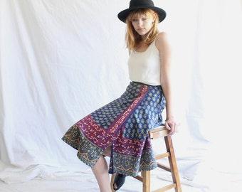 vintage 70s indian cotton wrap skirt