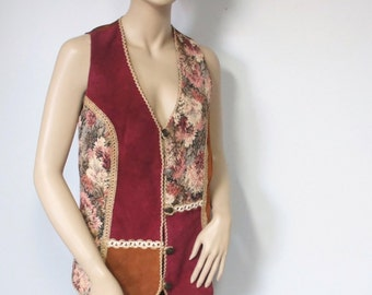 Vest Vintage Leather and Tapestry Vest Boho Vest Hippie Vest Burlap Trim Size Large