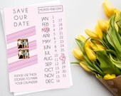 Save The Date Wedding Invitation. Personalized Save The Date Calendar Wedding Invitation with Sticker set, Wedding Invitation, Save The Date