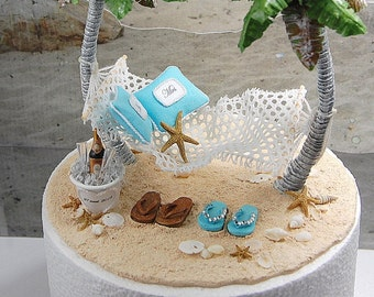 Base Attached Champagne For Two Personalized Beach Honeymoon Hammock Wedding Cake Topper Custom Colors Artisan Handmade To Order