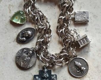 "Words to Live By...Huge Vintage ELCO Sterling Silver Catholic Medals & Prayers Bracelet ~ Large 7 3/4"""